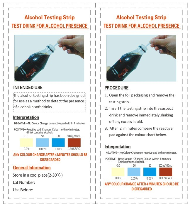 Rapid Drink Alcohol Testing Strip